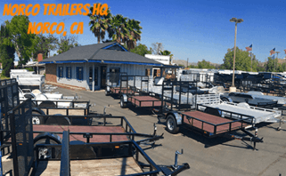 Norco Trailers headquarters parking lot filled with various trailers