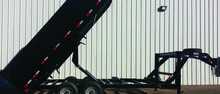 Dump trailer in raised position