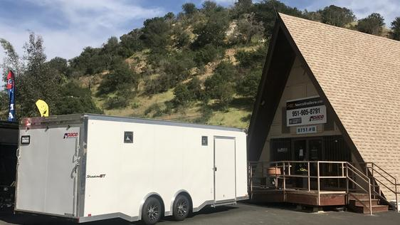 Pace American enclosed cargo trailer in front of Norco Trailers' Escondido office