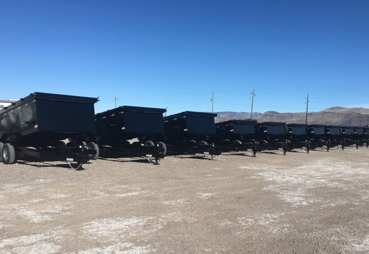 Innovative Dump Trailers lined up